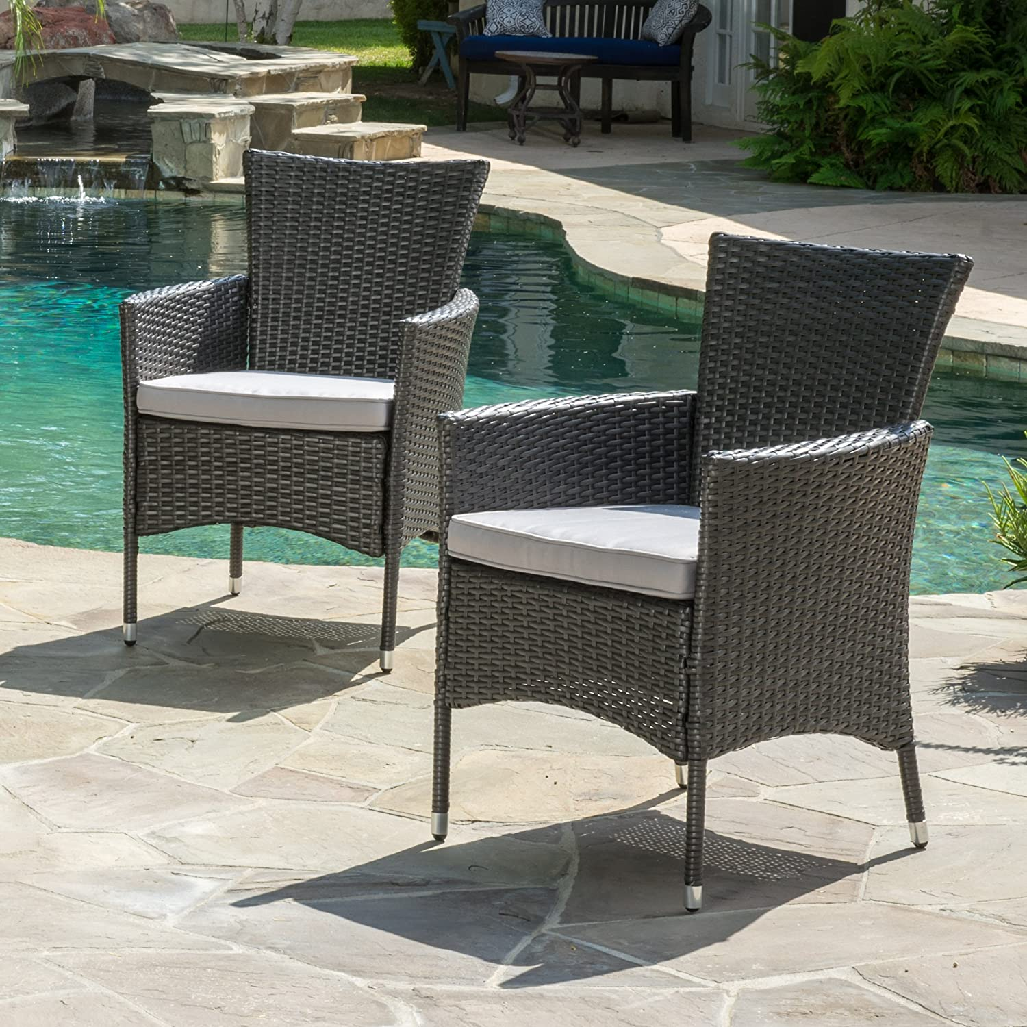 Amazon.com: Clementine Outdoor Multibrown PE Wicker Dining Chairs (Set Of  2): Kitchen U0026 Dining
