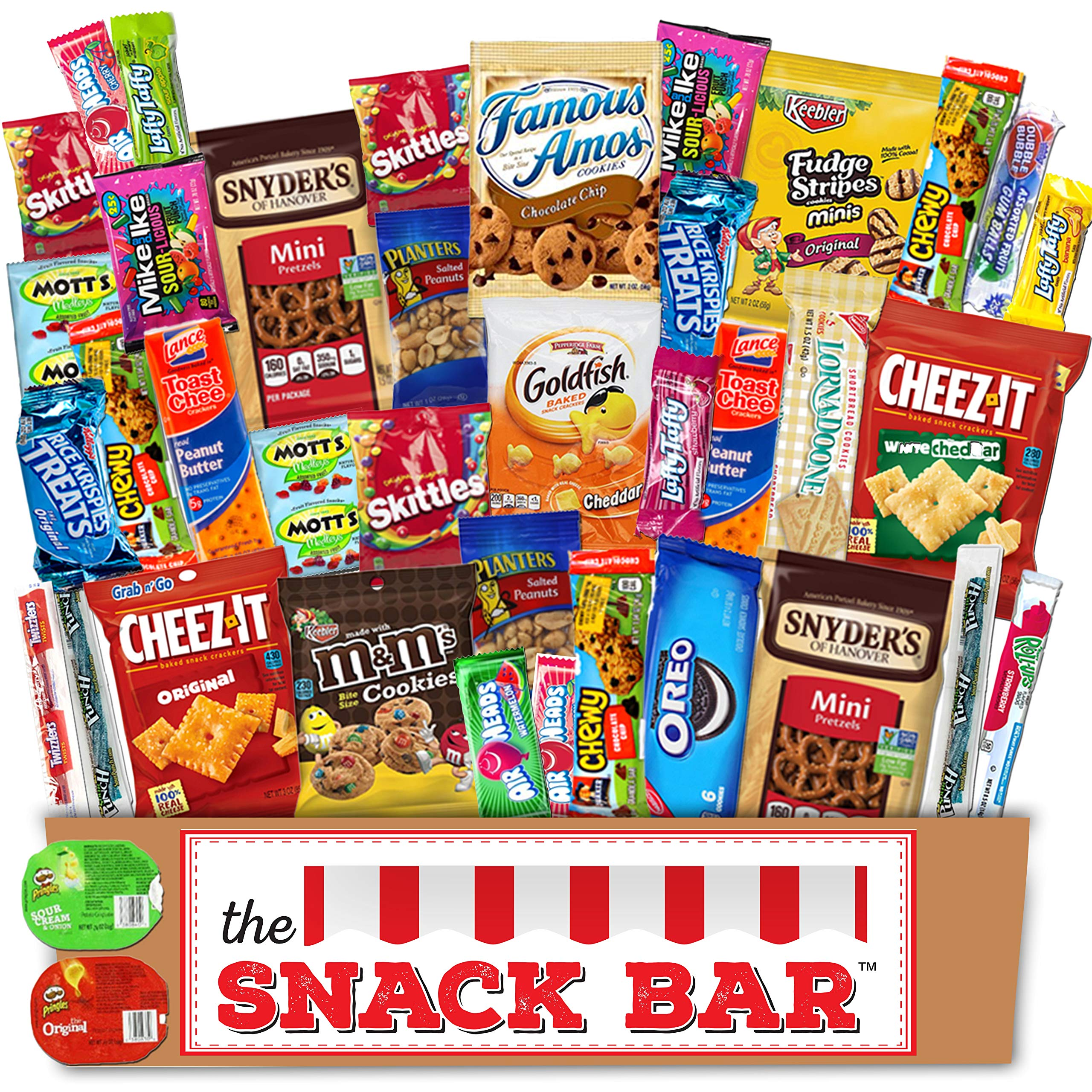 The Snack Bar - Snack Care Package (40 count) - Variety Assortment with American Candy, Fruit Snacks, Gift Snack Box for Lunches, Office, College Students, Road Trips (40)