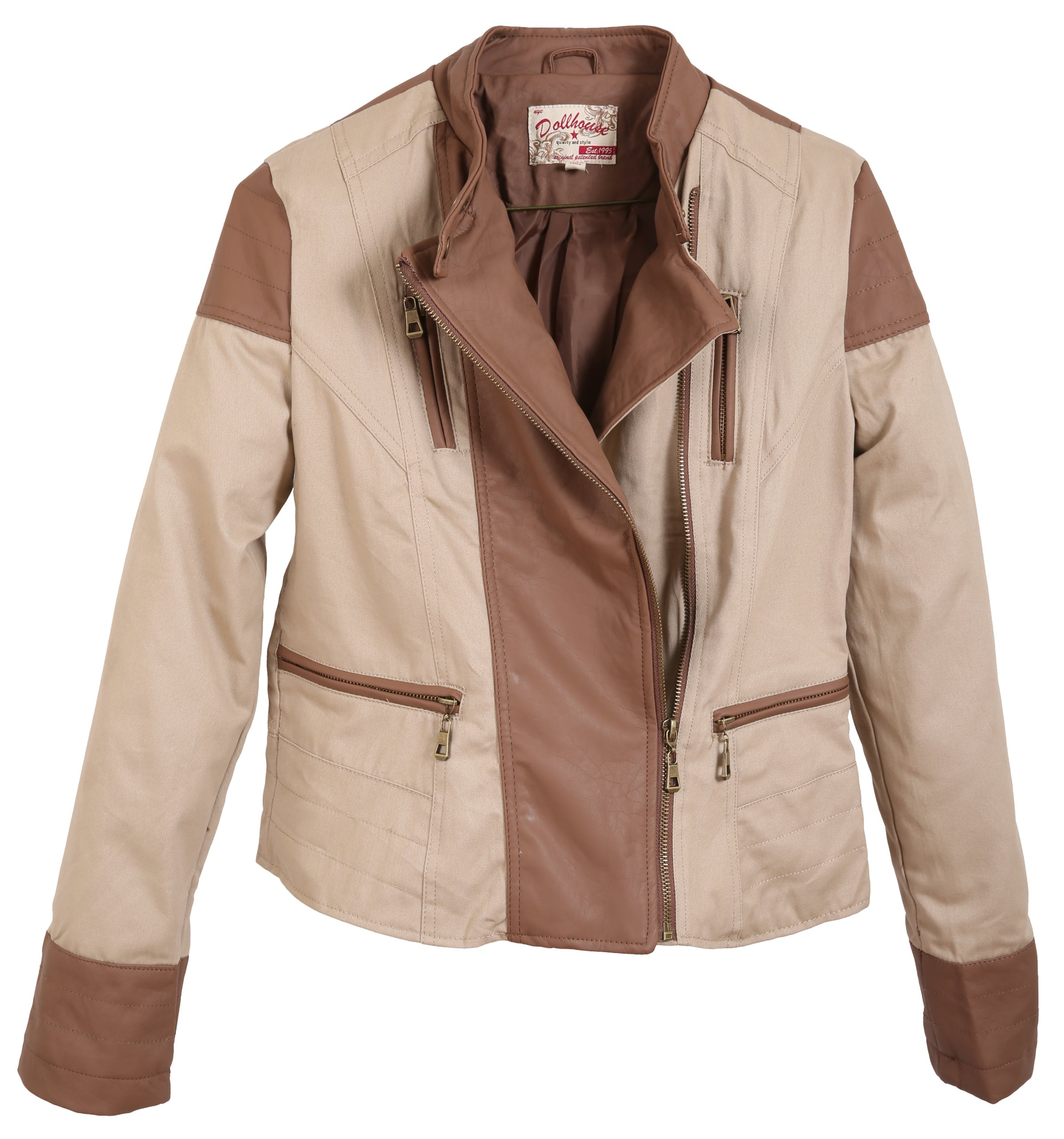 Dollhouse Junior'S Full Zip Leather Trimmed Jacket With Buttoned Mock Neck - Sand (Medium)