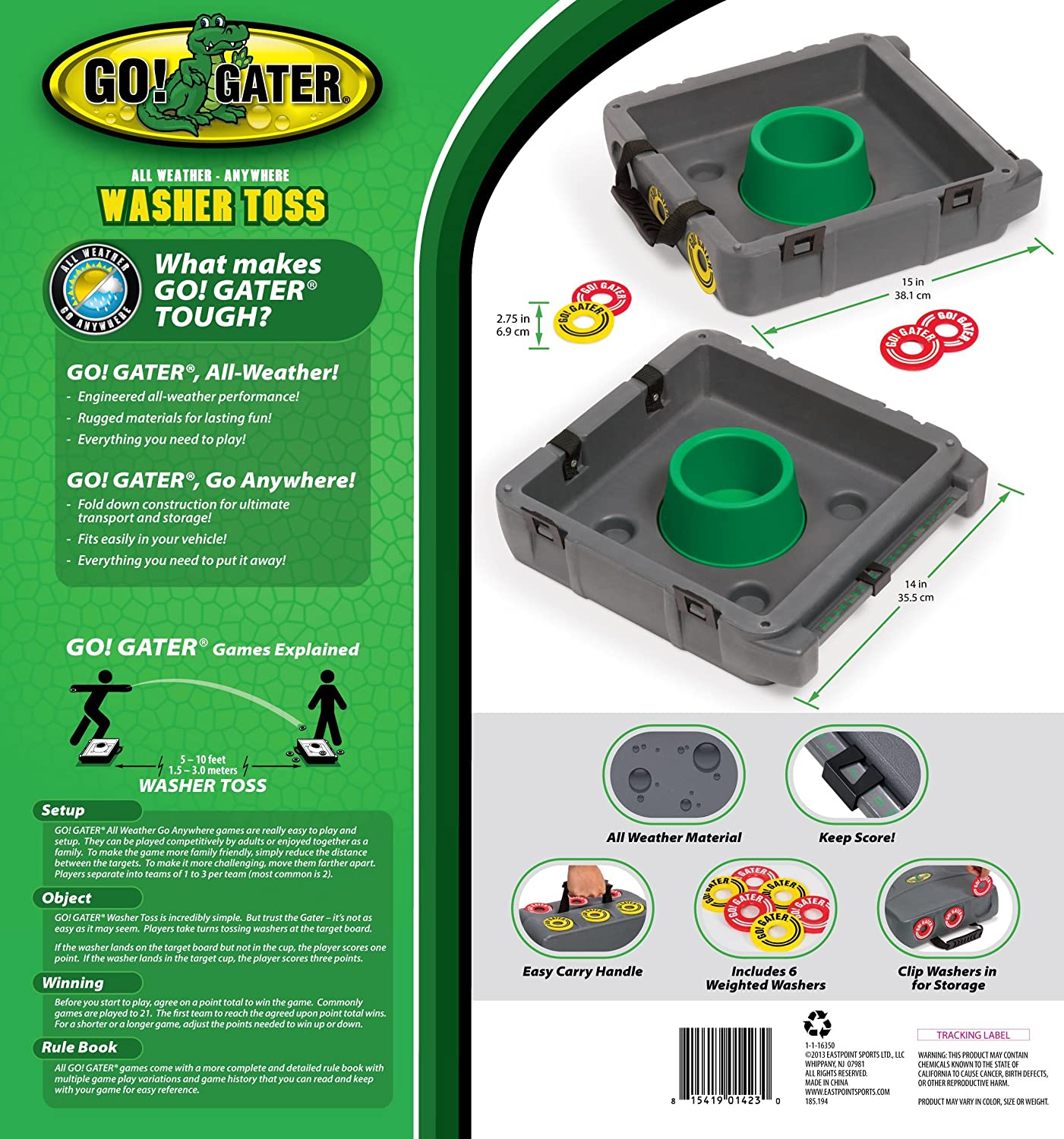 Go! Gater Washer Toss Set with Molded Case East Point 1-1-16350-DS