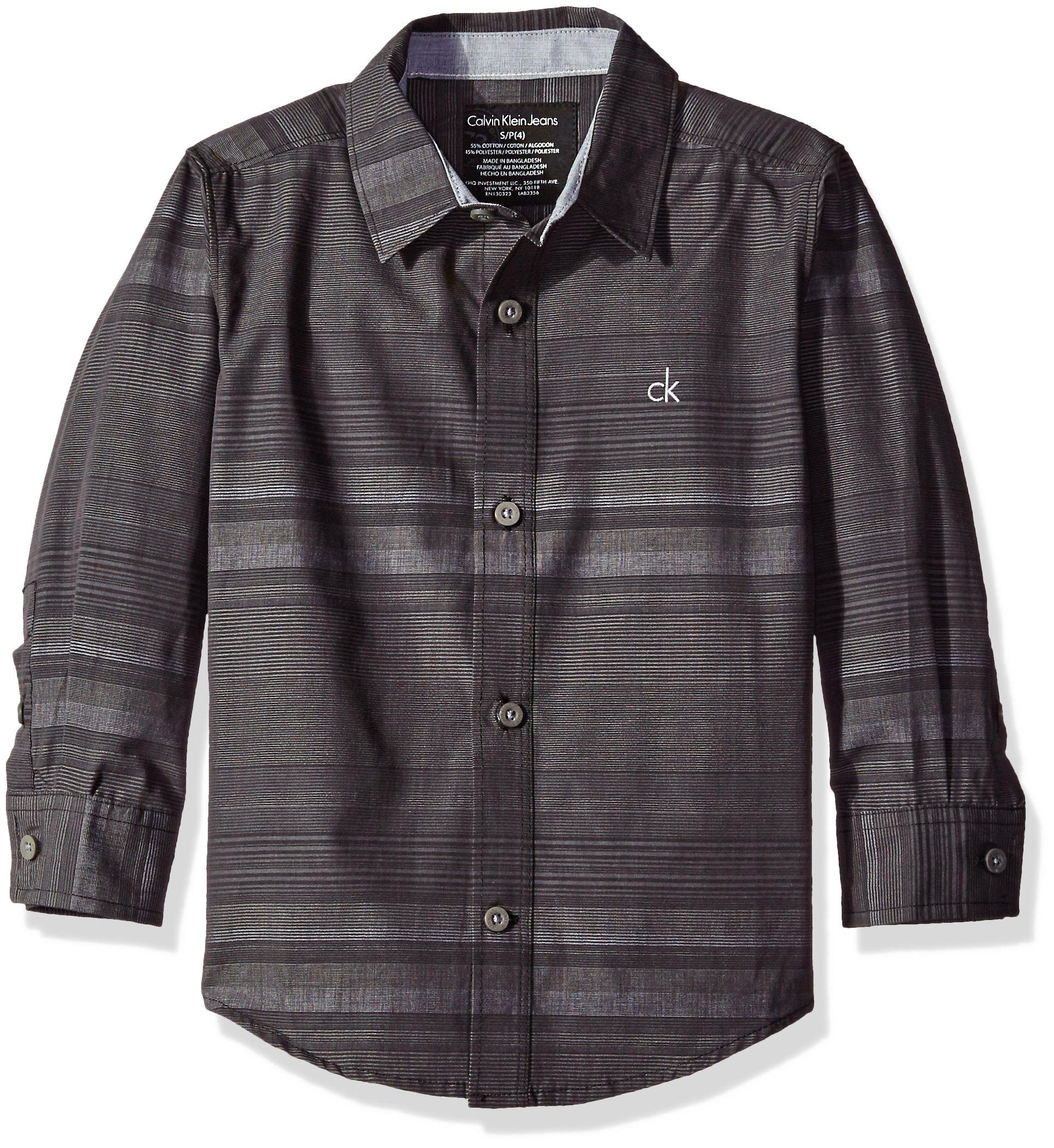 Calvin Klein Big Boys Fade Horizontal Stripe Long Sleeve Shirt, Black, x14/16