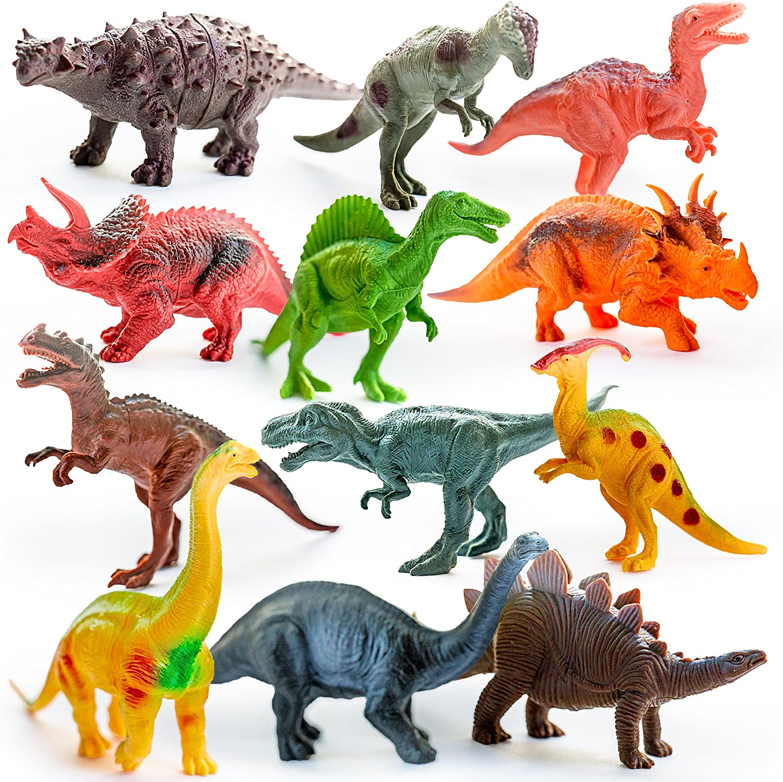 "12 Pack Realistic Dinosaur Figures 5/"" 7/"" Jurassic Park Toys Assorted Lot Jumbo"