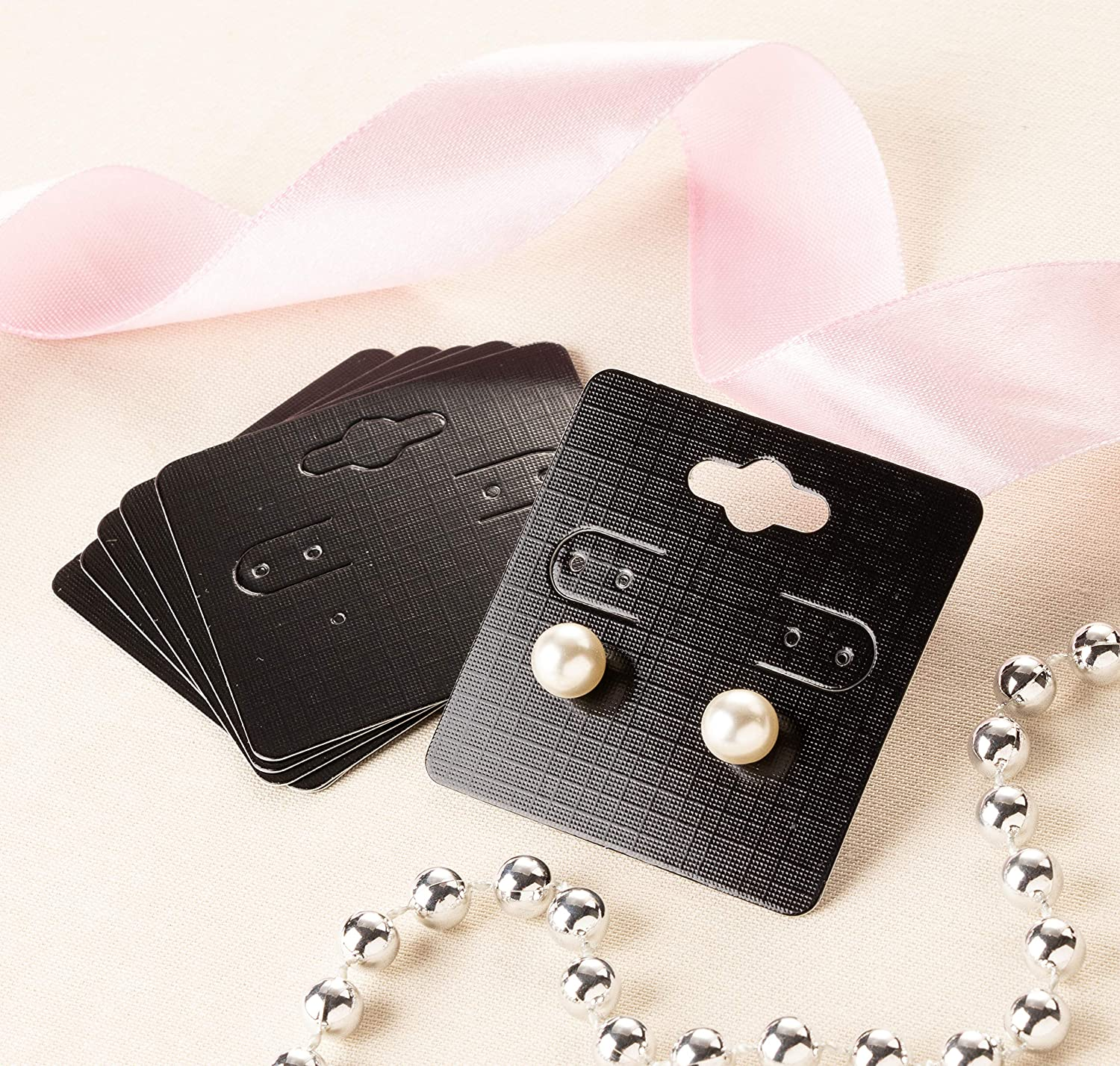 Earring Cards 2 x 2 Inches Ear Studs Paper Jewelry Display Cards for Earrings 200-Pack Hanging Earring Card Holder Black