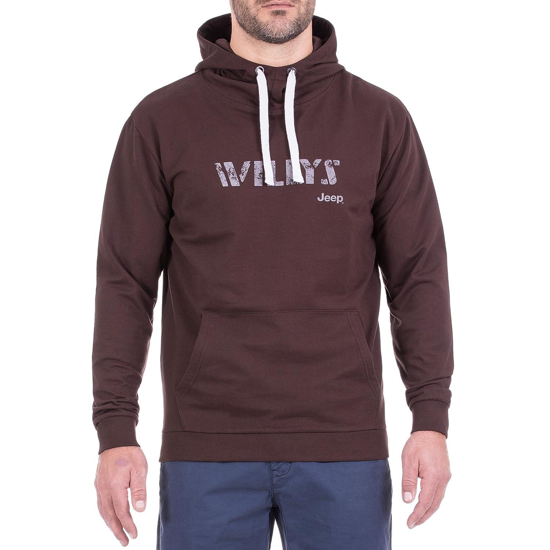 Jeep Leichter Hoodie, Sweater mit Großer Kapuze Willys Js8 Baumwolle Hooded Herren