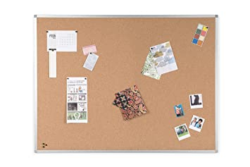 BoardsPlus Tablero De Corcho Y Pizarra Con Marco De Aluminio, 90x60 cm