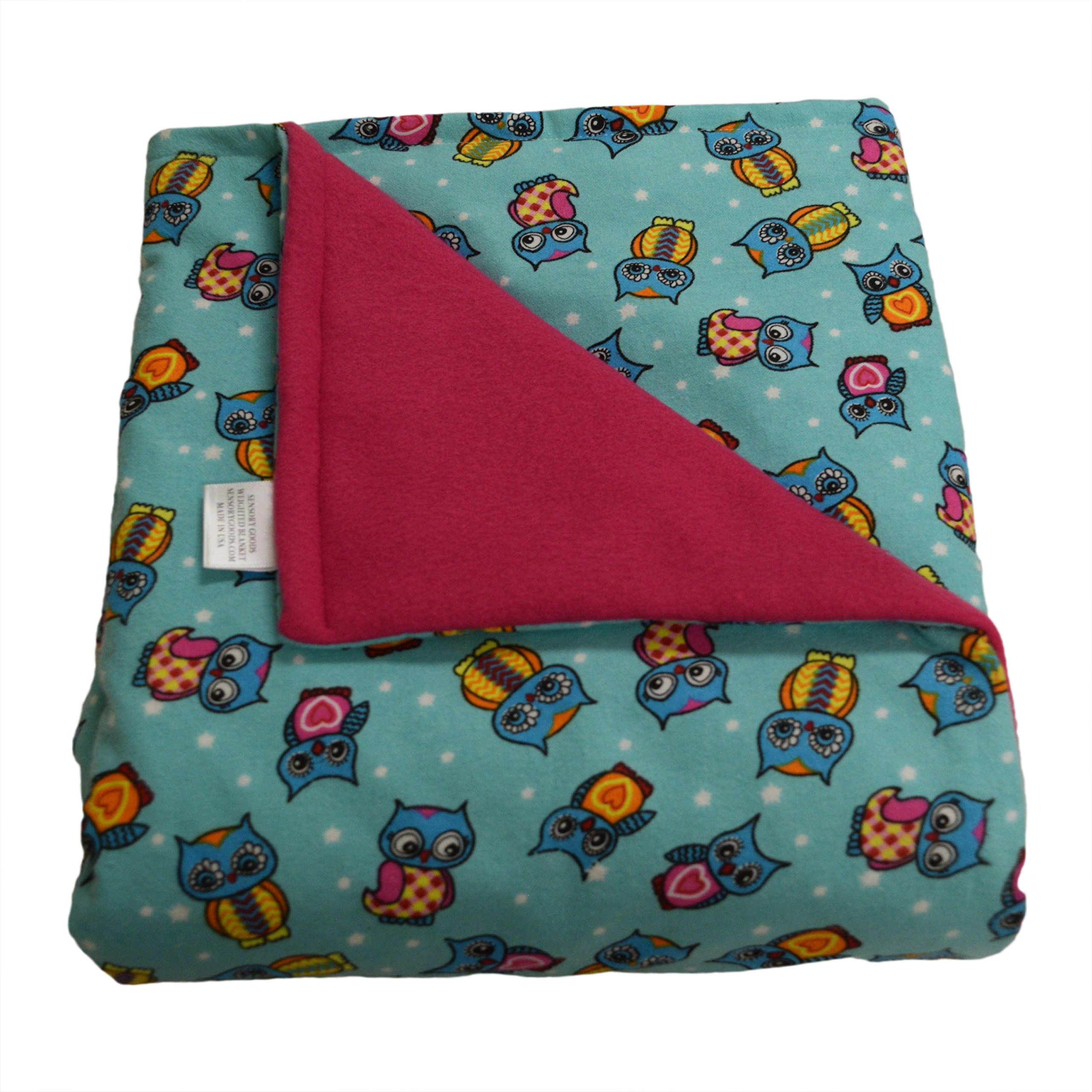 SENSORY GOODS Child Small Weighted Blanket Made in America - 4lb Low Pressure - Owls Pattern/Hot Pink - Fleece/Flannel (48'' x 30'') Provides Comfort and Relaxation.