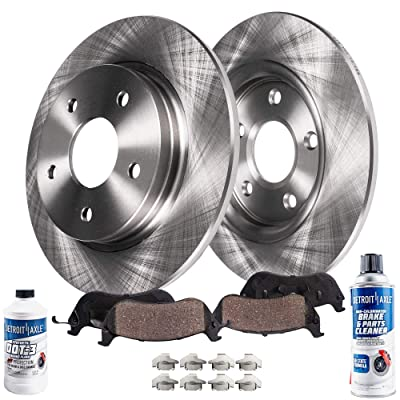 Detroit Axle - Pair (2) Rear Disc Brake Kit Rotors w/Ceramic Pads w/Hardware & Brake Kit Cleaner & Fluid for 2006 2007 2008 2009 2010 Jeep Commander - [2005-2010 Grand Cherokee]: Automotive