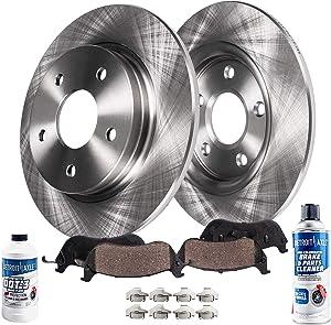 Detroit Axle - Pair (2) Rear Disc Brake Kit Rotors w/Ceramic Pads w/Hardware & Brake Kit Cleaner & Fluid for 2003 2004 2005 2006 2007 Jeep Liberty - [2003-2006 Wrangler]