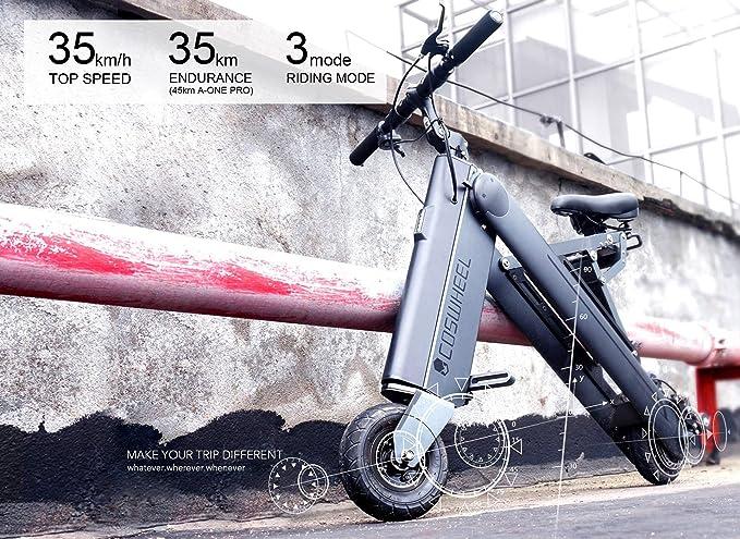 Coswheel Aone Smart bicicleta eléctrica plegable, fácil y plegado simple patinete eléctrico con 3 modos de conducción para adultos y niños, ...