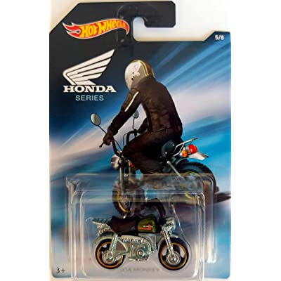 Hot Wheels - Honda Series - Honda Monkey Z50 Mini Bike - Chrome with Black seat and green tank - Unique Art Card!: Toys & Games