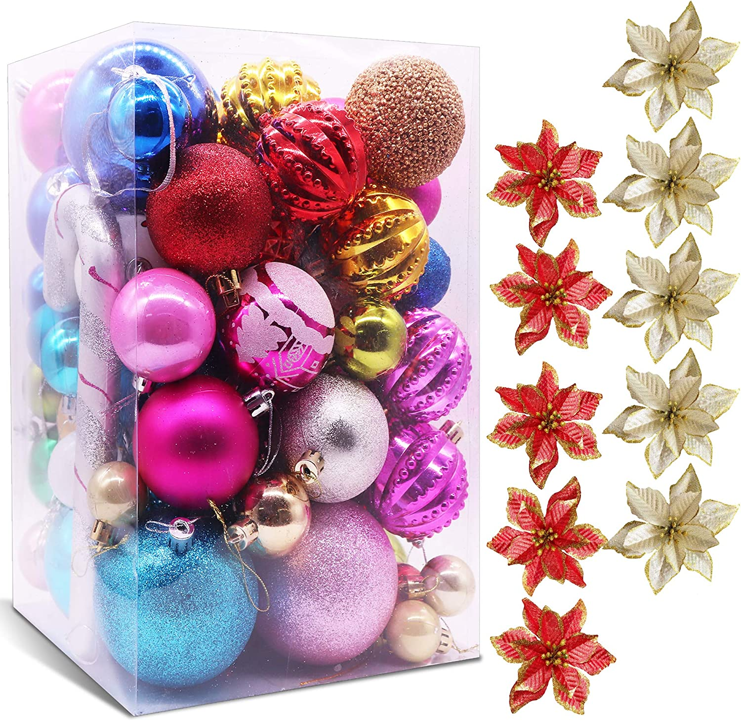 LEBOO Christmas Balls Ornaments 70-80Pack Assorted Shatterproof Christmas Tree Decorations Large Hanging Ball and 10-Pack Poinsettia Christmas Flowers for Xmas Trees Wedding Party Home Decor