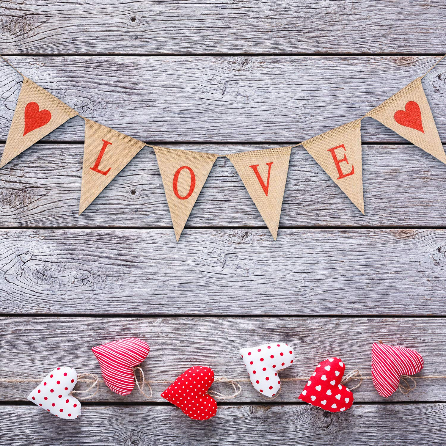 Blulu Love Bunting Banner Valentines Day Burlap Banner and 6 Pieces Paper Pom Poms Hanging Flower Ball for Valentines Day Wedding Party Supply