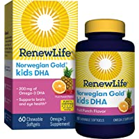 Renew Life® Norwegian Gold® Kids Fish Oil - Kids DHA, Fish Oil Omega-3 Supplement - Gluten & Dairy Free - 60 Chewable Softgels (Package May Vary)