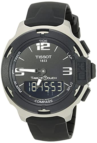 9459f2cfa10 Image Unavailable. Image not available for. Color  Tissot Men s  T0814209705701 T-Race Black Dial Rubber Strap Watch