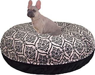 product image for BESSIE AND BARNIE Signature Black Puma/Versailles Pink Extra Plush Faux Fur Bagel Pet/Dog Bed (Multiple Sizes)