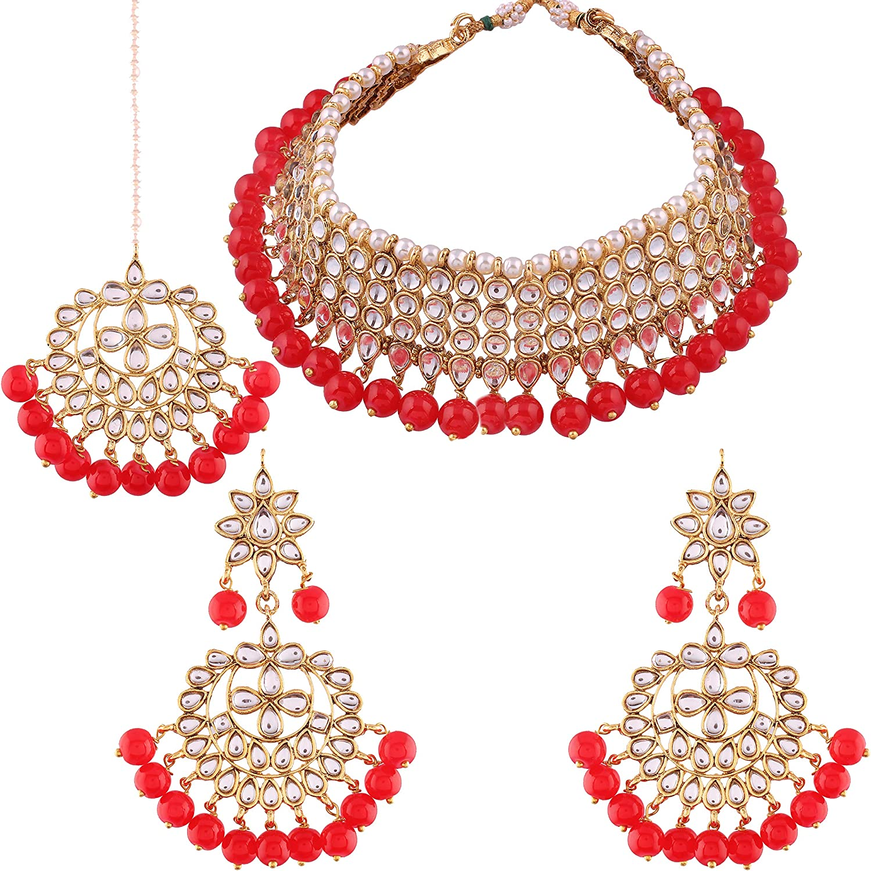 Indian Gold pearl Bridal Kundan Choker necklace Set Wedding Semi Bridal jewelry