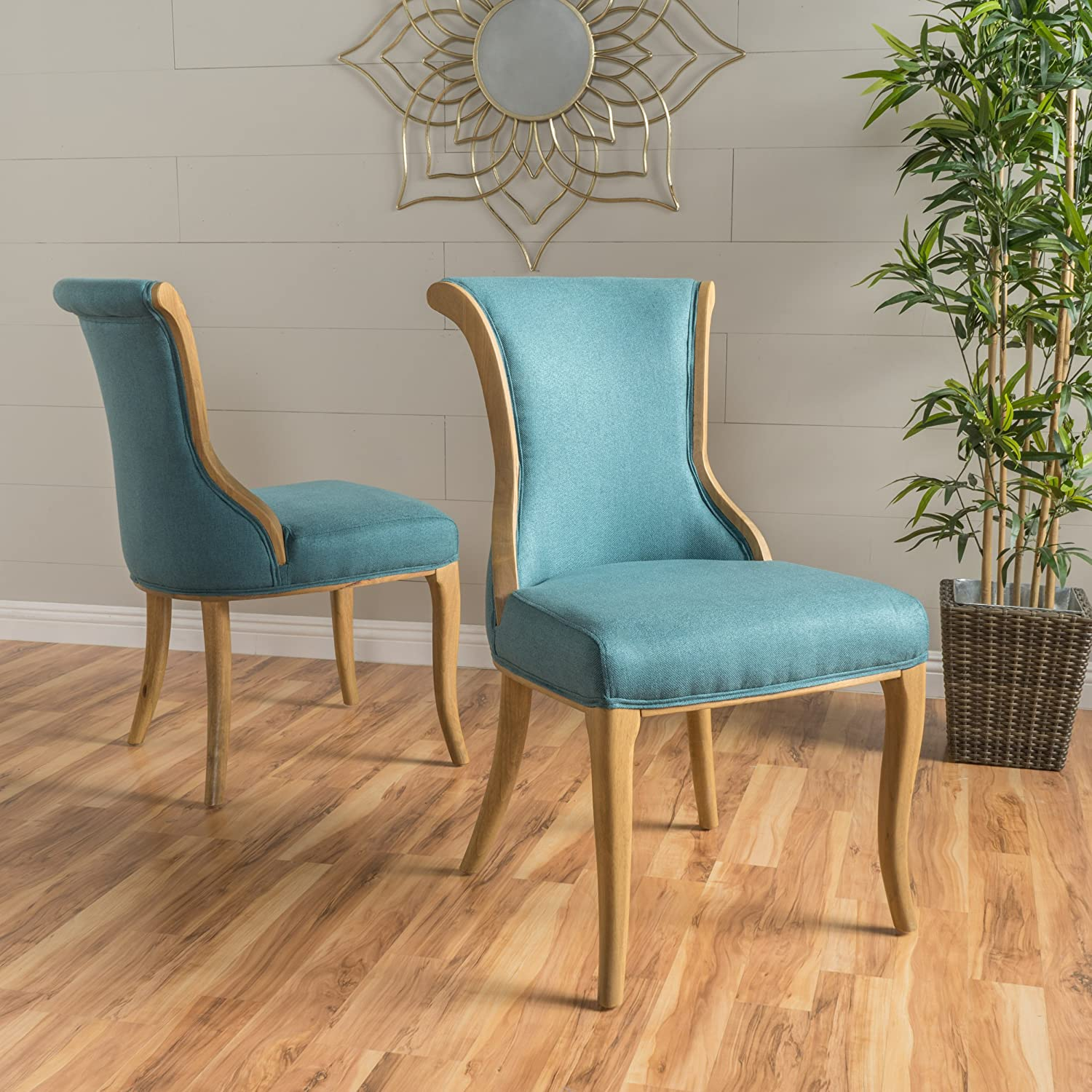 Christopher Knight Home 299511 Lexia Dark Teal Fabric Dining Chair