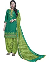KVS FAB Green Cotton Embroiderd Patiala Un-stitched Dress Material