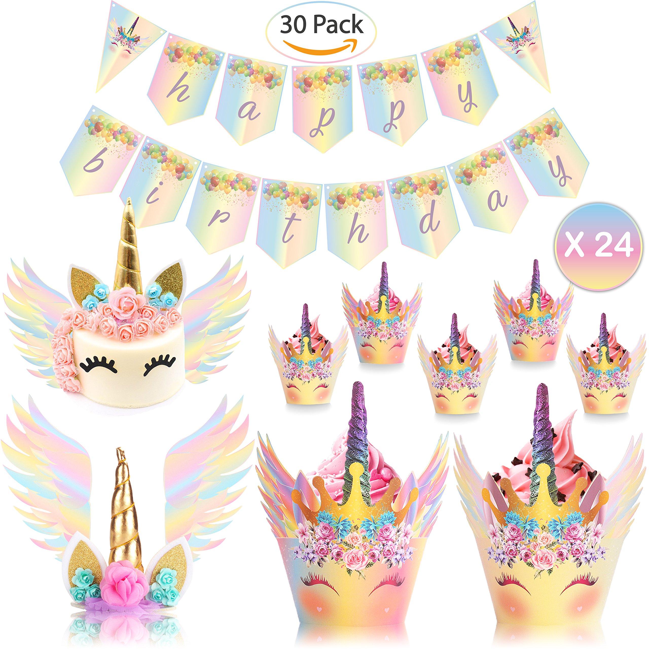UnicornLifestyle Unicorn Cake Topper with Eyelashes Rainbow |30 Pack| 24pcs Unicorn Cupcake Topper, Birthday Banner | Unicorn Cake Wings | Baby Shower, Kids Unicorn Party Supplies, Bridal Wedding