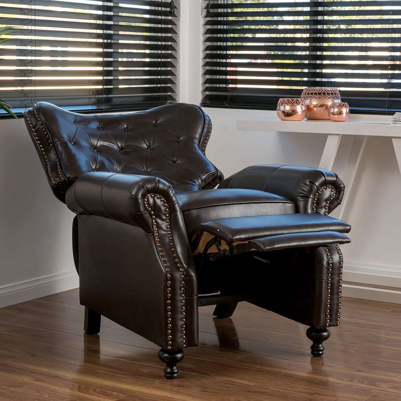 & Amazon.com: Waldo Brown Leather Recliner Club Chair: Kitchen u0026 Dining islam-shia.org