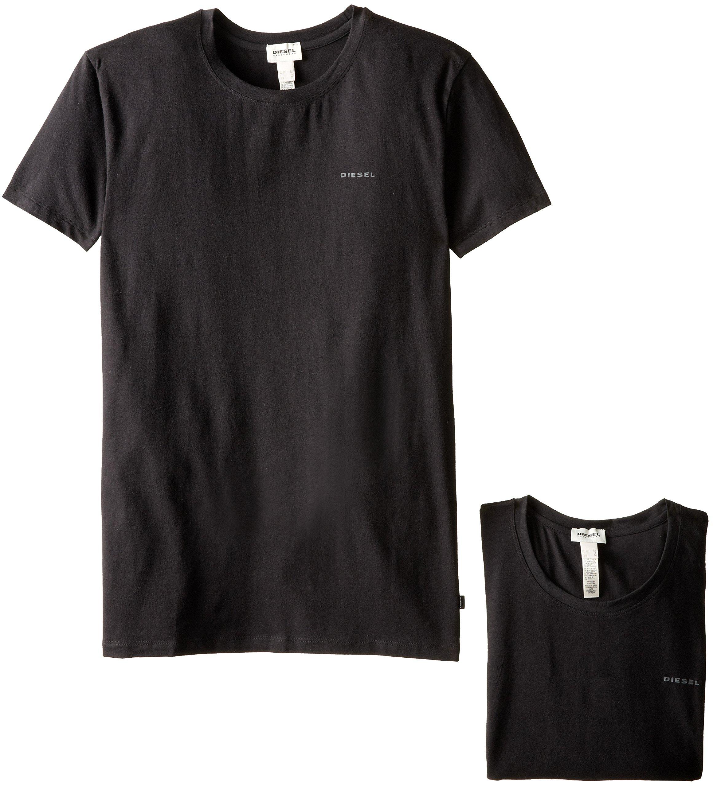 Diesel Men's Randal 2 Pack Essentials Crew Neck T-Shirt, Black, Medium