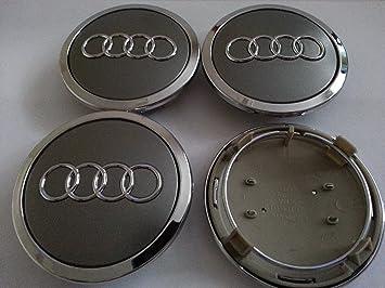 Audi - Tapacubos de aleación, diseño insignia de Audi, color plateado (4 unidades de 68 mm): Amazon.es: Coche y moto