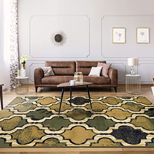 Superior Modern Viking Collection, 8mm Pile Height with Jute Backing, Geometric Trellis Pattern, Anti-Static Area Rugs – Green, 4 x 6 Rug