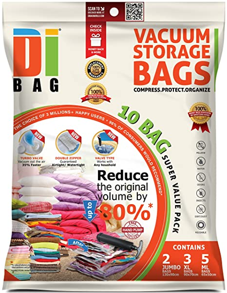 DIBAG 10 Space Saver Vacuum Storage Travel Bags, 2 Jumbo + 3 L + 5 Medium