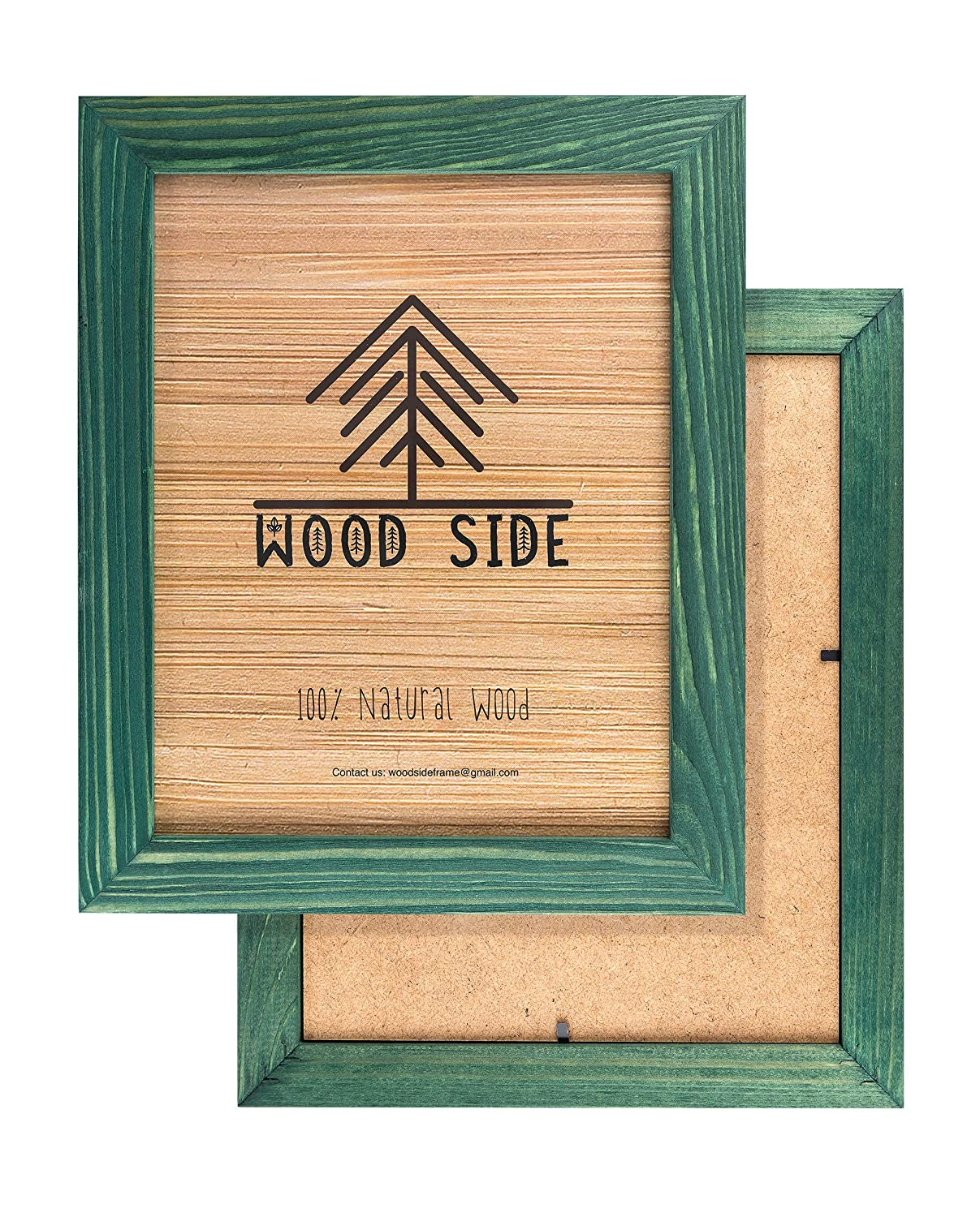 Rustic Wooden Picture Frames 8x10 - Green - Set of 2-100% Natural Eco Solid Wood and High Definition Real Glass for Wall Hanging Photo Frame