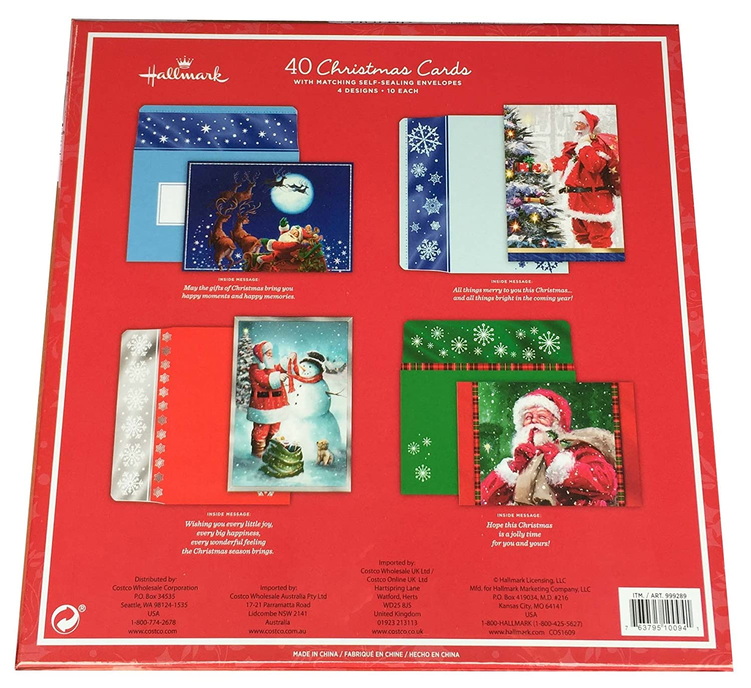 Hallmark 40 Christmas Holiday Cards with Matching Self Sealing Envelopes - 4 Designs 10 Each (Santa)