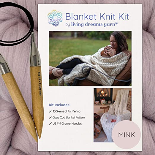 Large Wood Knitting Needles Super Soft Thick Yarn Chunky Knit Blanket DIY Kit Dusty Pink