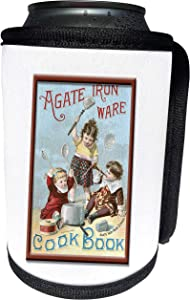 3dRose BLN Vintage Food and Drink Labels and Posters - Vintage Agate Iron Ware Cook Book Cover - Can Cooler Bottle Wrap (cc_149247_1)