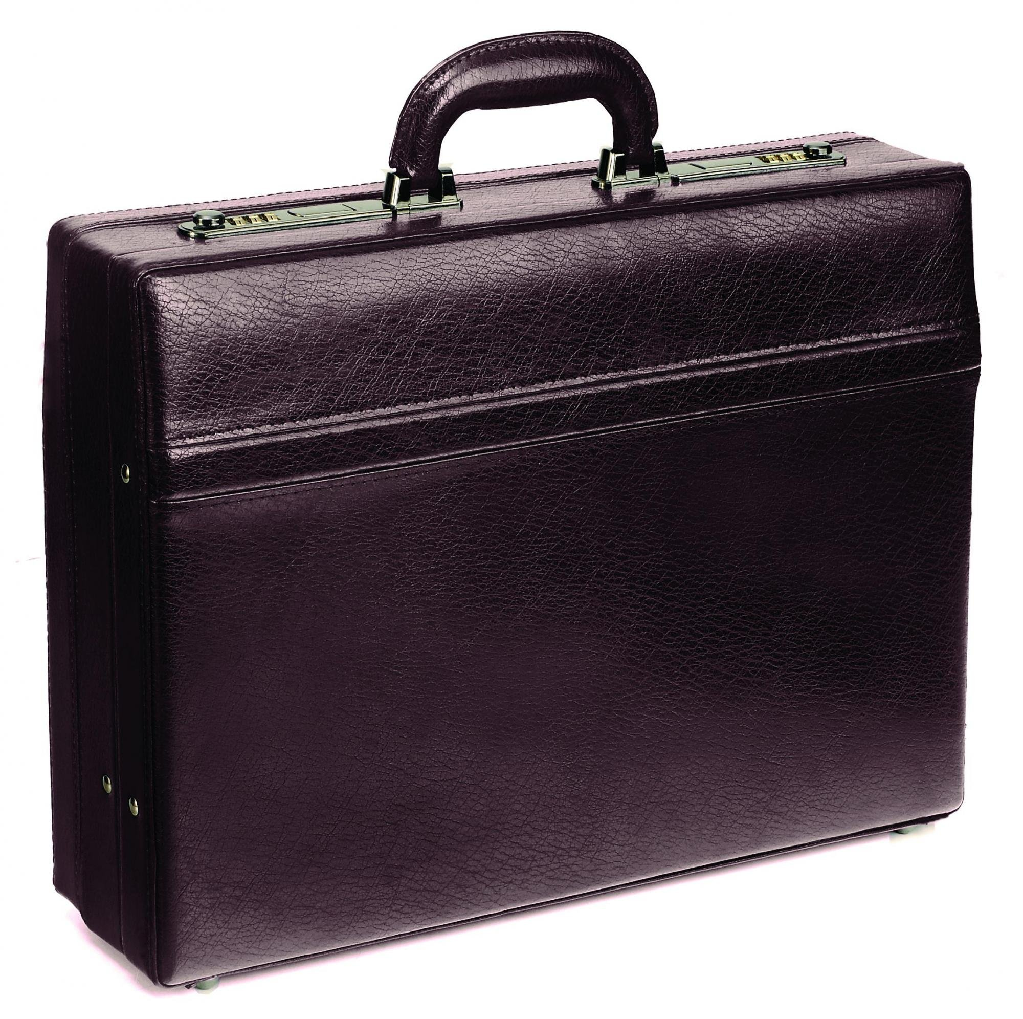 Mancini 4'' Leather Expandable Attache Case - Burgundy by Mancini Leather Goods