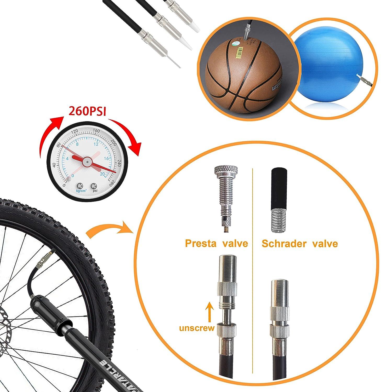Aluminum Alloy Frame-Mounted 260 PSI High Pressure Presta /& Schrader Valves Available Patarcle Mini Bike Pump Portable
