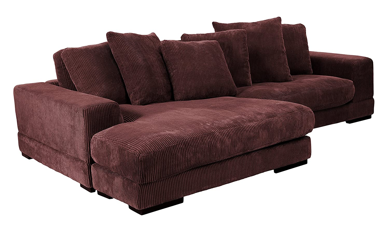 Amazon com moes home collection plunge reversible sectional sofa dark brown kitchen dining