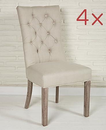 Hochwertig 4er Set Esszimmerstuhl Polsterstuhl Für Wohnzimmer Und Esszimmer    Sitzmöbel Lounge Designer Stühle Besucherstuhl In Beige