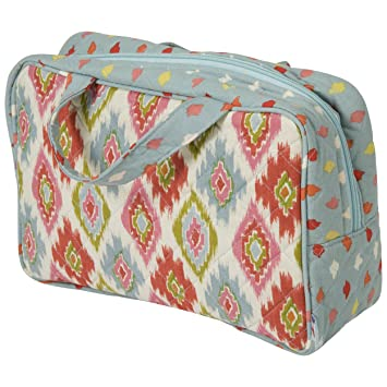 887c41d29c48 Amazon.com   Padded Quilted Fabric Zippered Cosmetic Bag With Handles - Cosmetic  Case - Makeup Bag - Makeup Case - Ikat - Vintage - (Blue)   Beauty