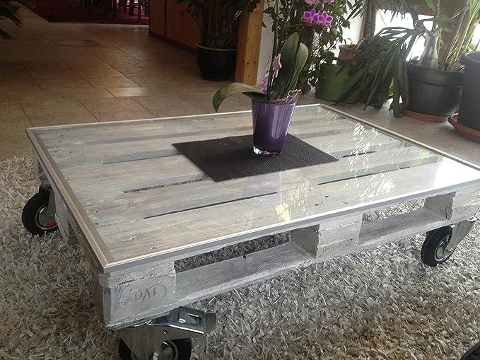 Palettentisch Mit Rollen Glasplatte Und Led Beleuchtet Upcycling