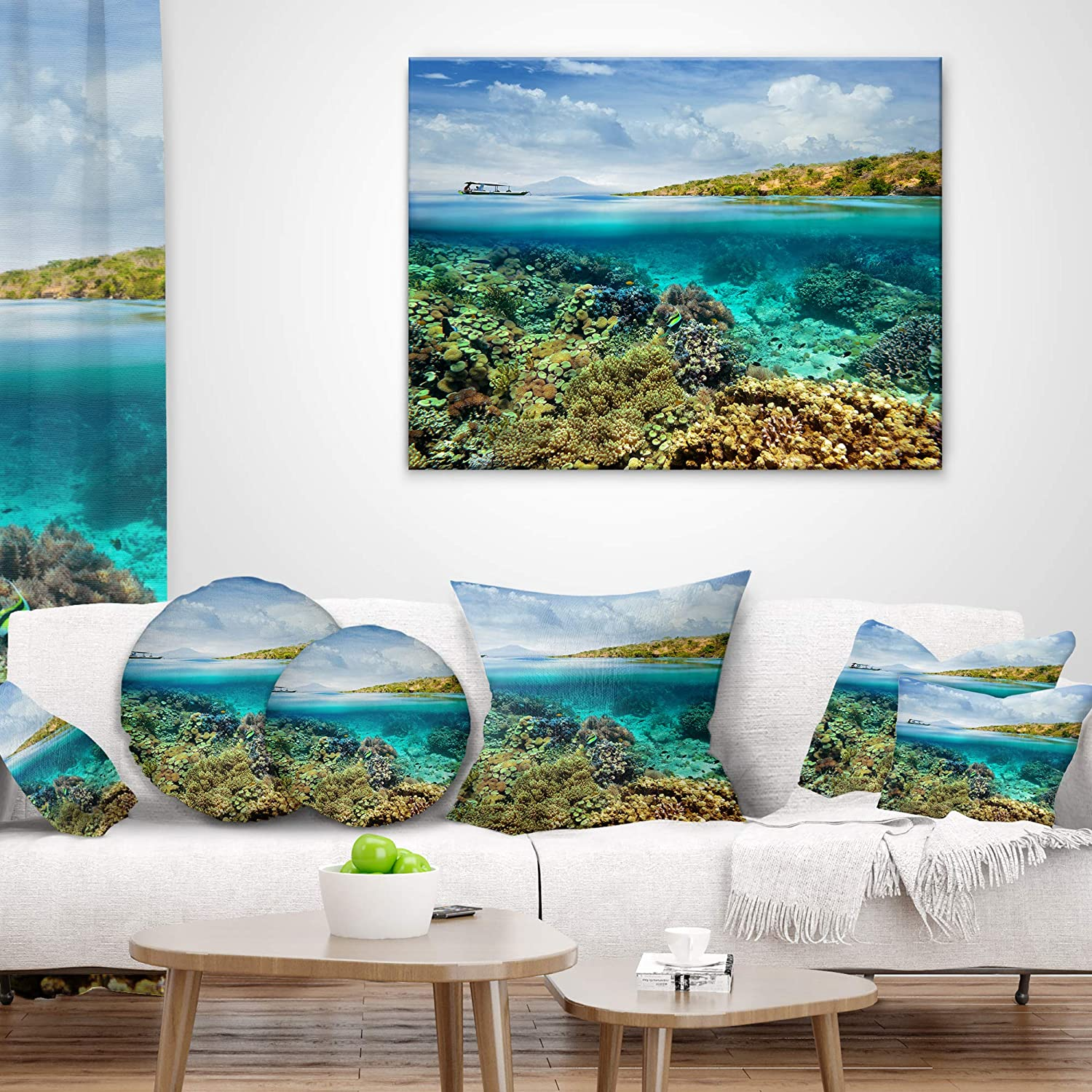 x 20 in Designart CU7673-12-20 Coral Reef Island Seascape Throw Lumbar Cushion Pillow Cover for Living Room Cushion Cover Printed on Both Side Sofa Pillow Insert 12 in
