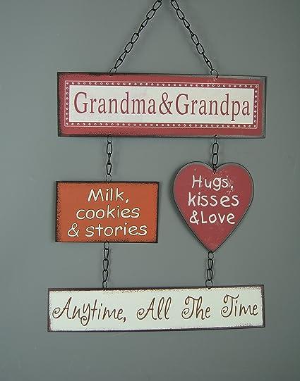 Abuela y Abuelo placa de madera de cocina (diseño de galletas leche y historias