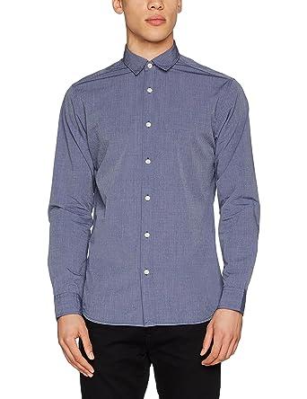 SELECTED HOMME Herren Freizeithemd Shhonemoonie Shirt LS Noos, Blau (Dark  Sapphire Pattern:Jacquard