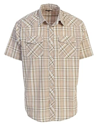 26c8f540 Gioberti Men's Short Sleeve Plaid Western Shirt W/Pearl Snap-on ...