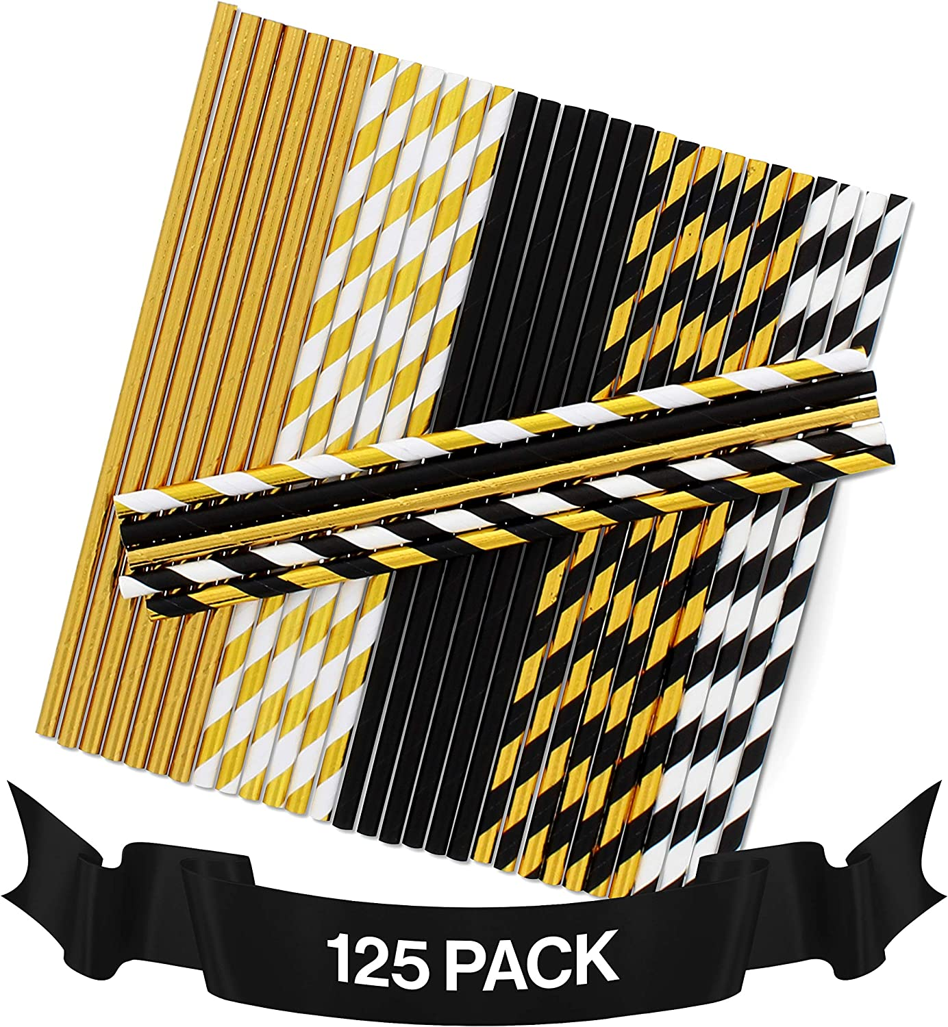 Party On Tap Black and Gold Straws - Great for Gold Party Decorations, Graduation, Bachelorette, Wedding, New Years Eve Parties - 125 Biodegradable Disposable Paper Straw Pack