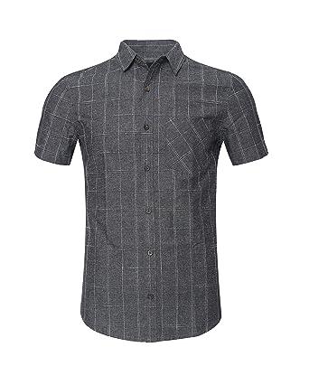 877e7c6709f TOPORUS Men s Casual Short Sleeve Button Down Shirts Bar Plaid Shirt 100%  Cotton at Amazon Men s Clothing store