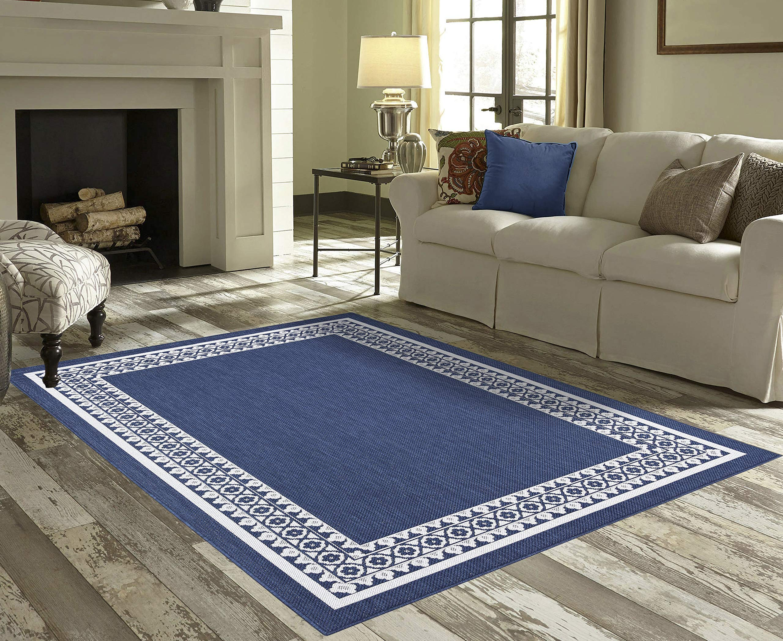 Priyate Florida Collection - All Weather Indoor/Outdoor Border Rug for Living Room, Bedroom, and Dining Room (5'3'' x 7'6'', Navy Blue)