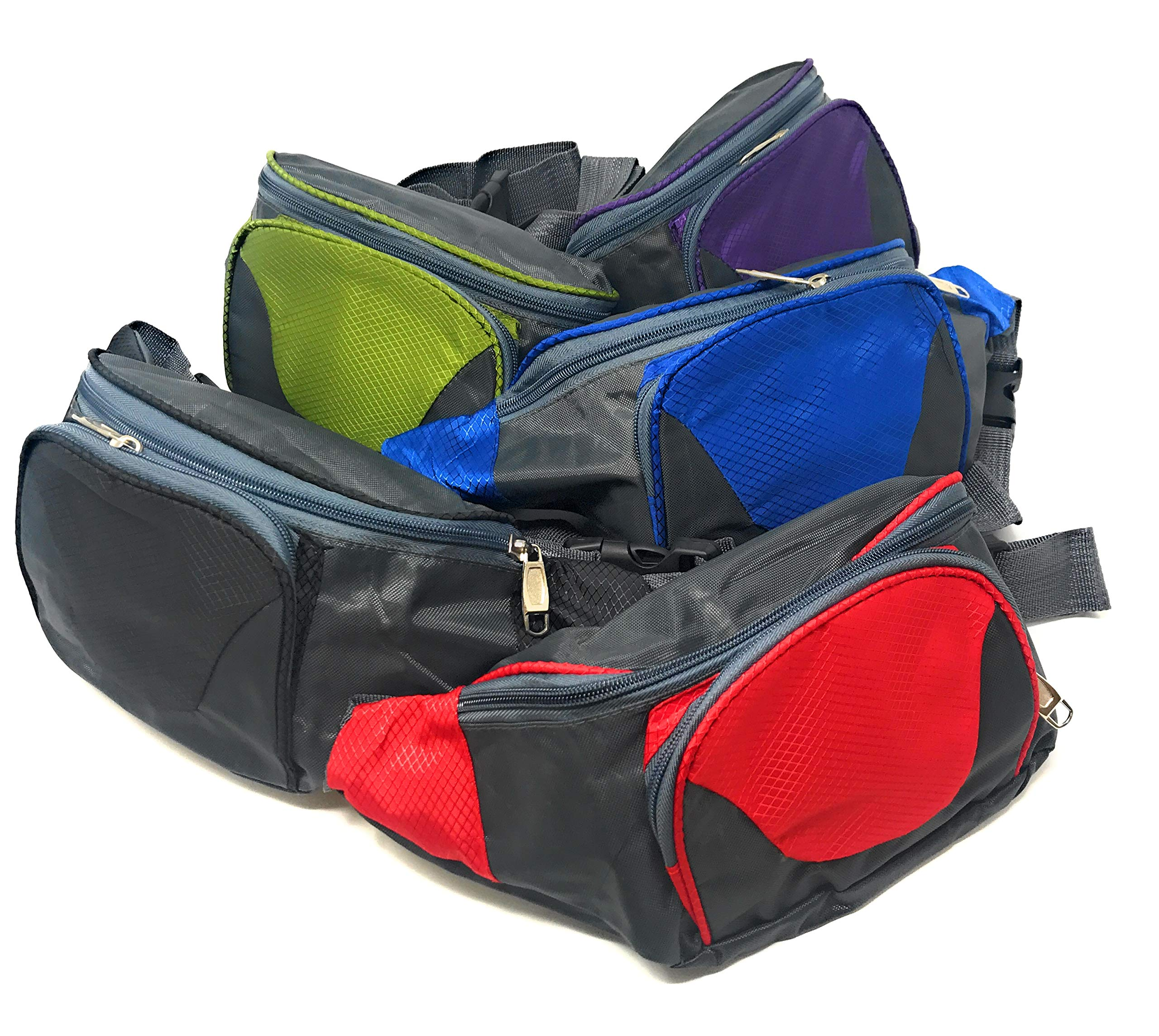 Bulk 5 Piece Travel and Hiking Fanny Pack Assortment by Funiverse