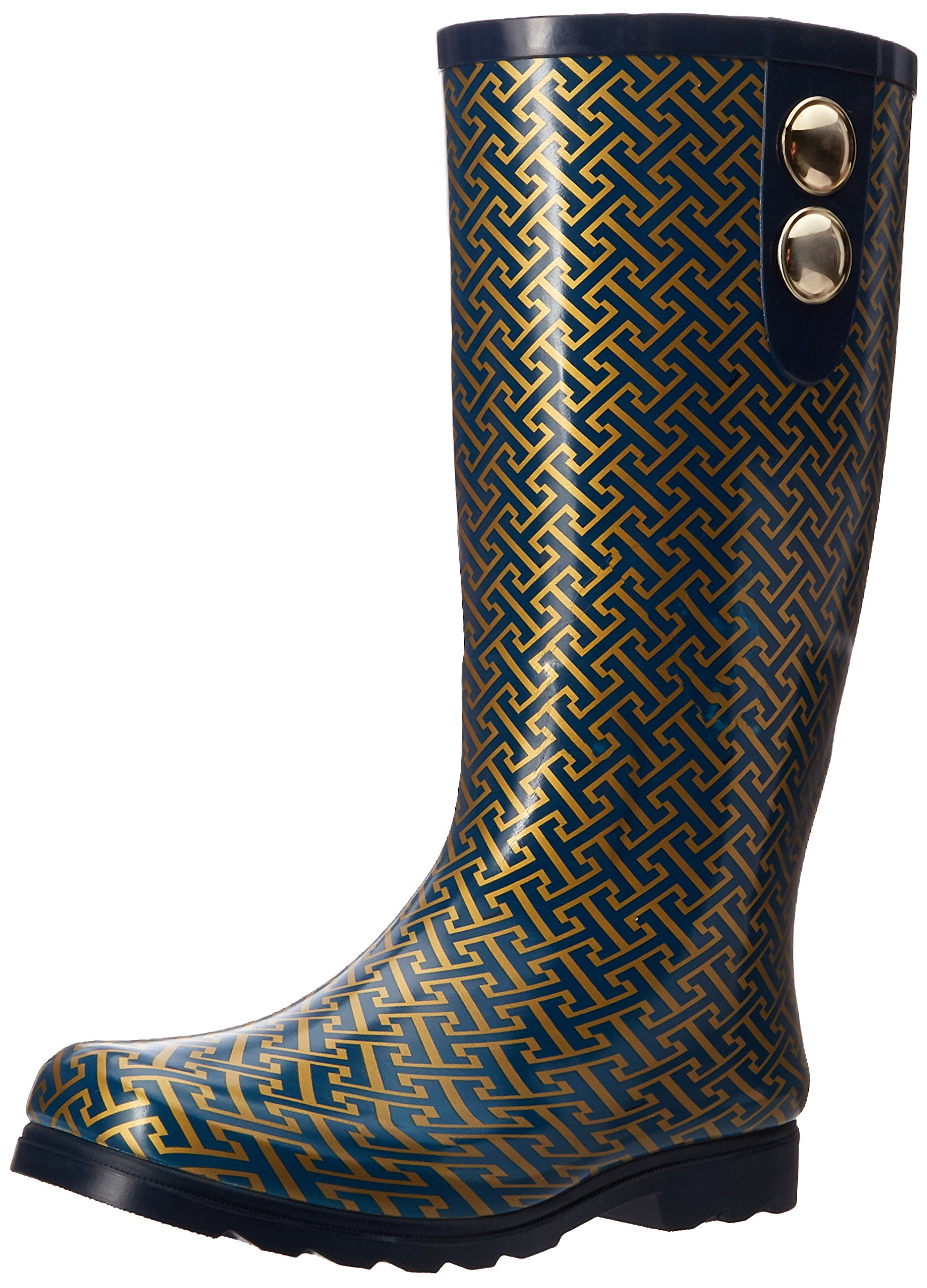 Nomad Women's Puddles II Rain Boot, Navy/Gold Hatch, 10 M US
