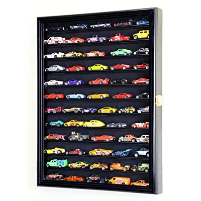 Hot Wheels Matchbox 1/64 scale Diecast Display Case Cabinet Wall Rack w/UV Protection -Black: Toys & Games