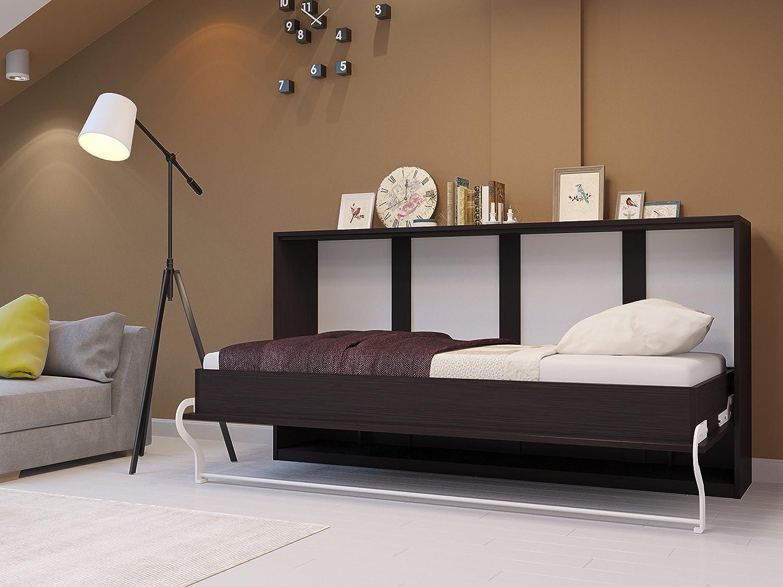 Cama plegable de 90 cm horizontal de wengué, cama plegable y cama de pared, colchón de espuma fría con punto inteligente, 90 x 200 cm