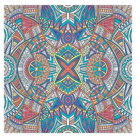 Graffy Toalla Pareo Doble de Playa Microfibra de 150x150 cm. Naranja Mandala Extra Grande.